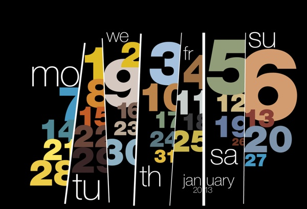 Typography calendar 2013 by Sudhir Kuduchkar, via Behance