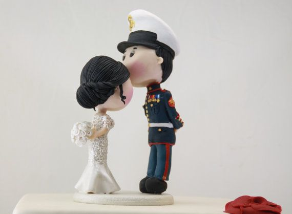 Wedding cake topper. US Marine Corps. Handmade. Fully customizable. Unique keepsake