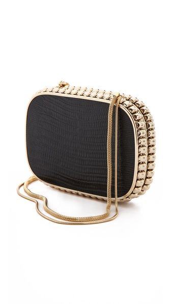 Overture Judith Leiber Quilted Rectangle Clutch - A Classic Black & Gold Combo To Go With Anything -ShazB