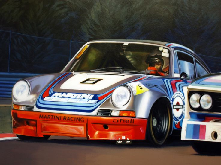 Murals - BEN F JEFFERY - this artist painted a huge mural of the Spar Race track in Belgium with a Porsche 911, BMW and a Ford Capri