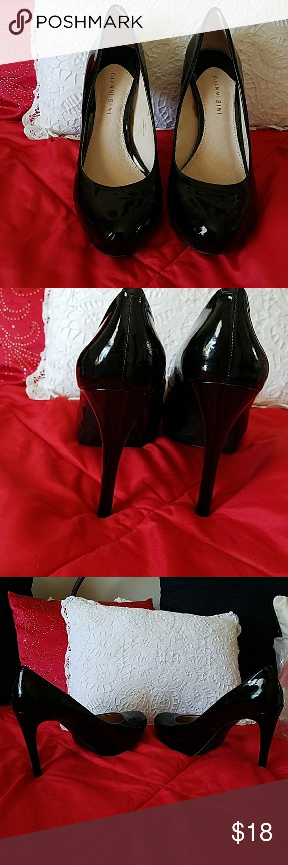 Gianni Bini black patent high heel pumps 10 new Gianni Bini black patent  leather high heel pumps size 10 bought new with box but look like they may have been worn once on the house looking at stickers on the bottom. Excellent just don't fit me Gianni Bini Shoes Heels