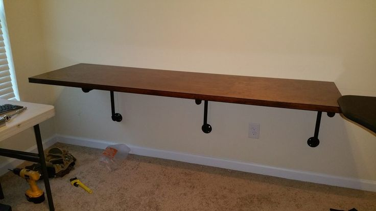 Floating Pipe Desk Can We Build It Yes We Can Pinterest Desks Pipes And Pipe Desk