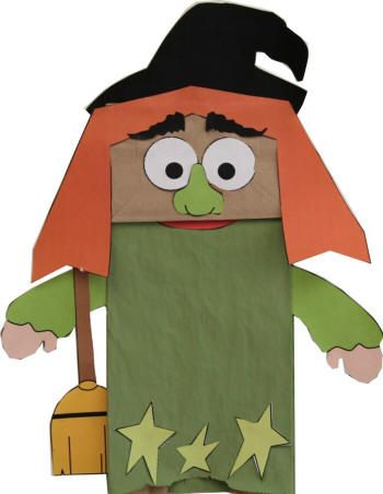 Paper bag witch puppet