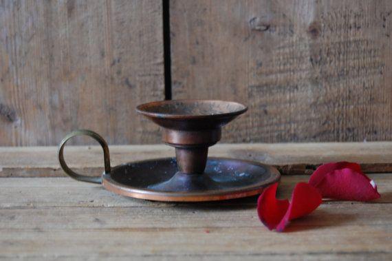 Portacandele in ottone vintage candeliere in metallo