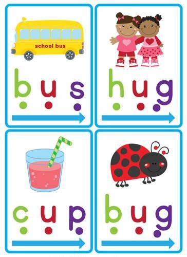 "Our ""CVC Word Slider Cards"" are a great early literacy tool to teach children CVC (consonant, vowel, consonant) words.  Teaching children to identify ""chunks"" in words is an important part when learning to read. Identifying these ""chunks"" helps to build fluency as the children will not need to stop and blend each individual sound.  You will receive 60 cards showing CVC words with pictures."