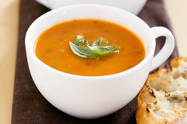 Tomato And Basil Soup - Slurp your way into winter with this easy tomato and basil soup.