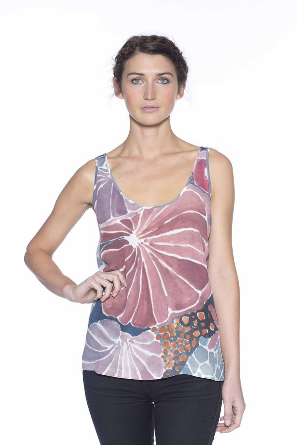 Great for trans-seasonal dressing in beautiful winter prints. - 100% silk crepe- digital or screen print- french seams- size: S, M, L (loose fitting)