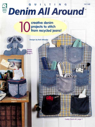 Denim All Around - I pinned this for the idea, I can make the pattern.  this would be a great travel organizer to hang.