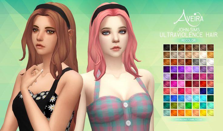 Aveira's Sims 4, John-Sims Ultraviolence Hair - Recolor 70 Colors ...