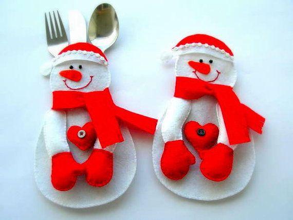 Snowmen fork  spoon service by Lilamina on Etsy, $20.00