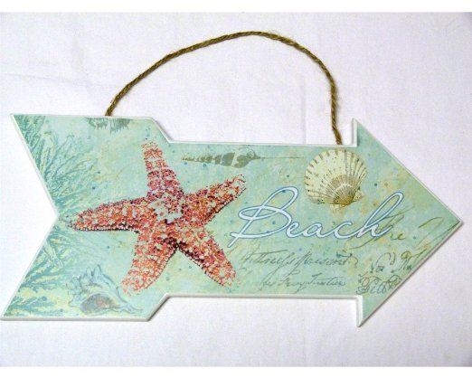 """Amazon.com - Beach Sign with Starfish and Shells - Beach House or Cottage Decor - Ocean - 13"""" X 6"""" - New - Decorative Plaques"""