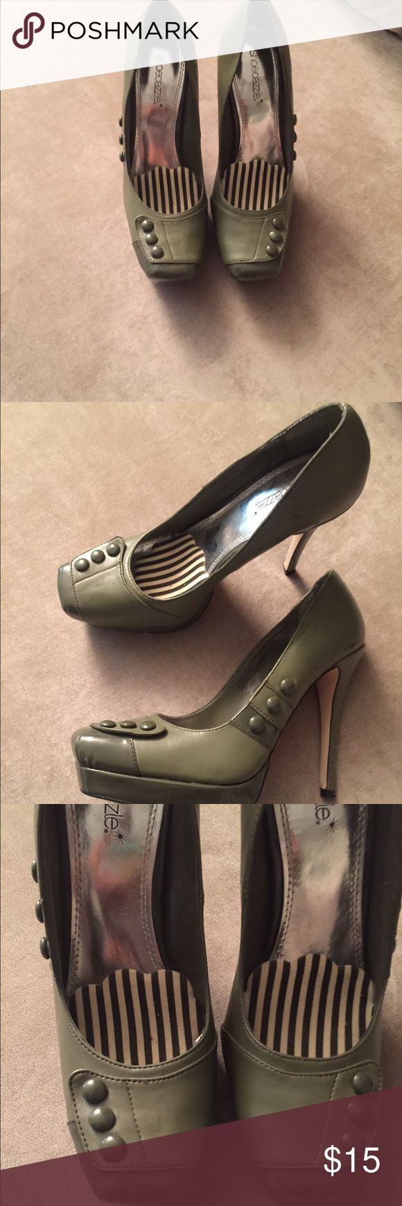 ⚡️FLASH SALE ⚡️Olive Green Stilettos These are heels from Shoe Dazzle. In a size 7.5, i only wore these shoes onve so in like new condition. Shoe Dazzle Shoes Heels