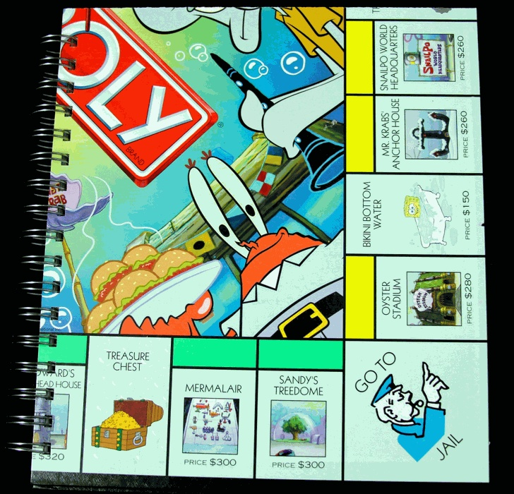 Spongebob Monopoly Game Recycled Journal by Eric Kirby $18