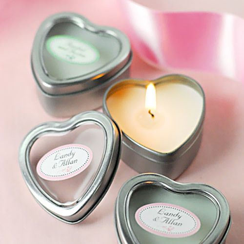 Mini Vanilla Heart Candle Tins Wedding Favors