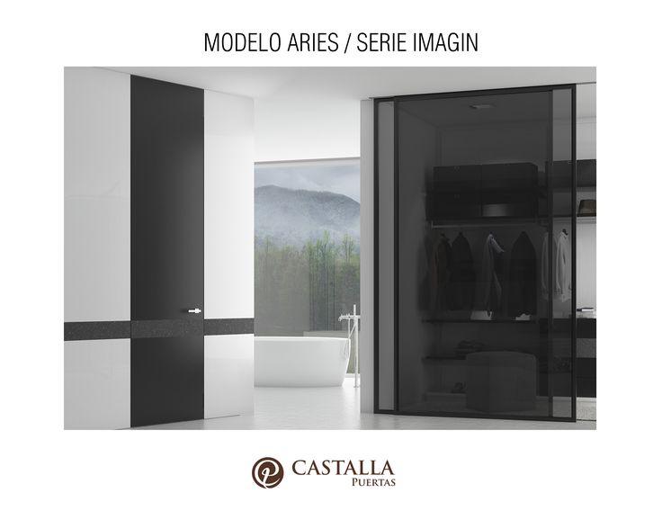 Puerta interior de madera oscura | Serie imagin | Acabado lacado negro | Volcán negro | Puertas de interior | Puertas Castalla