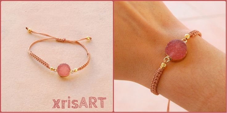 Handmade bracelet macrame pink stone