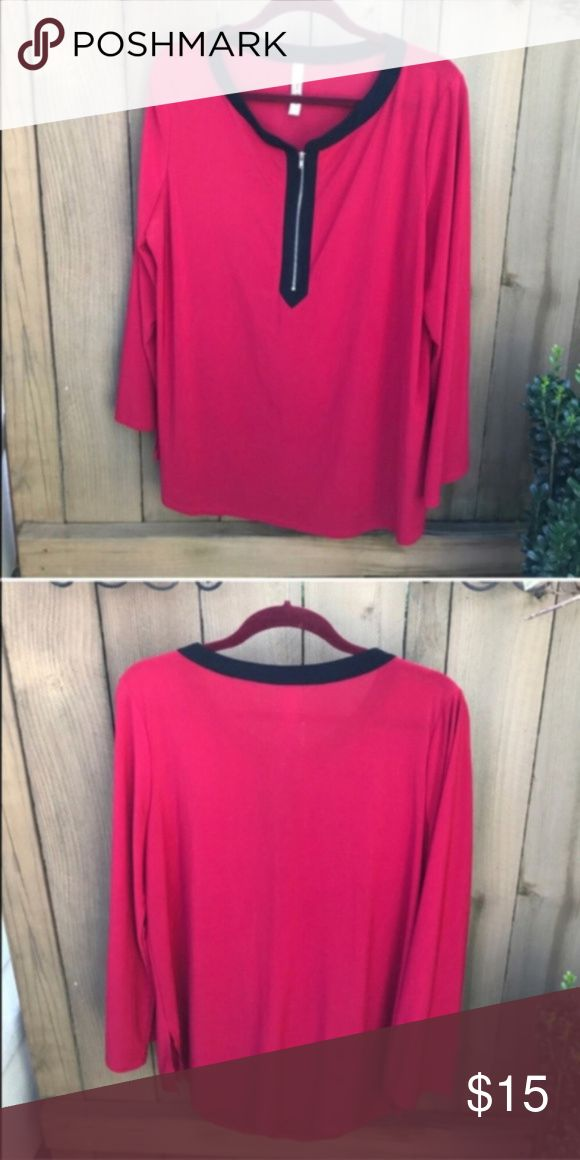 Perception women size 2X red flowing blouse Perception women size 2X red flowing blouse bin 4 Perseption Tops Blouses