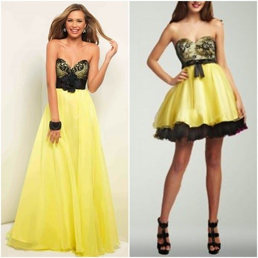 Black and yellow short dresses