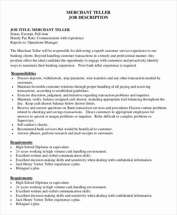 bank teller resume description lovely sample teller job