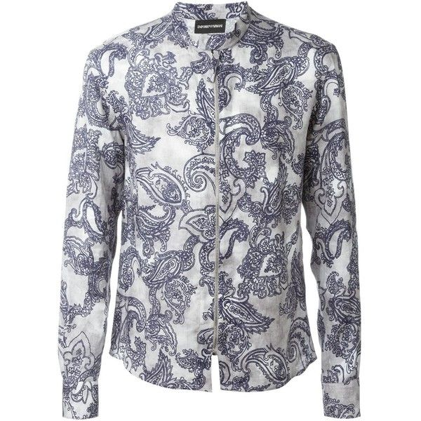 Emporio Armani Full Zip Shirt featuring polyvore men's fashion men's clothing men's shirts men's casual shirts white mens paisley shirt mens white shirt mens zipper shirt mens white paisley shirt mens zip polo shirt