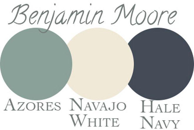 Home Exterior Color Palette. Benjamin Moore Azores, Navajo White, Hale Navy. Via Nola Kim