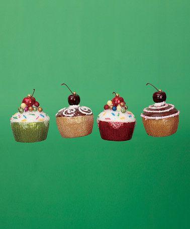 Glitter Cupcake Ornament Set #zulily #zulilyfinds
