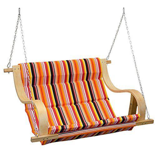 Panchina dondolo sospesa da portico | rivestita in tessuto a strisce colorate | panca altalena da giardino | elementi di fissaggio inclusi