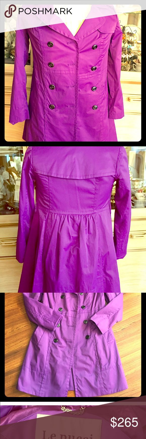 💕Burberry/ Le Pucci Trench Coat Very rare Emilio Pucci for Burberry Purple Trench Coat. This is a rare and one of a kind le Pucci trench coat. Size shown on pictures. Missing belt but still in perfect condition. Offers are welcome to this unique and gorgeous item. Le Pucci/Burberry Dresses