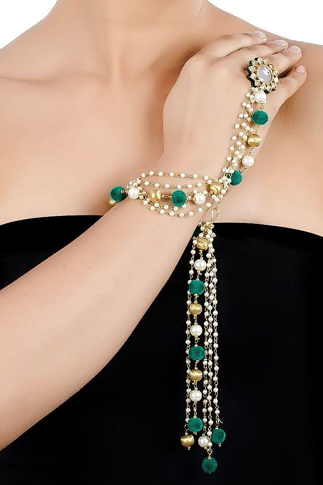 Pearl and Green Pompom Tassel Hathphool. 7 Day Delivery Guarantee Worldwide #jewelry #kundan #hathphool #accessories #indianfashion #shop #online #fashion #jewellery #golden #pretty #soranam #bazzzar #green