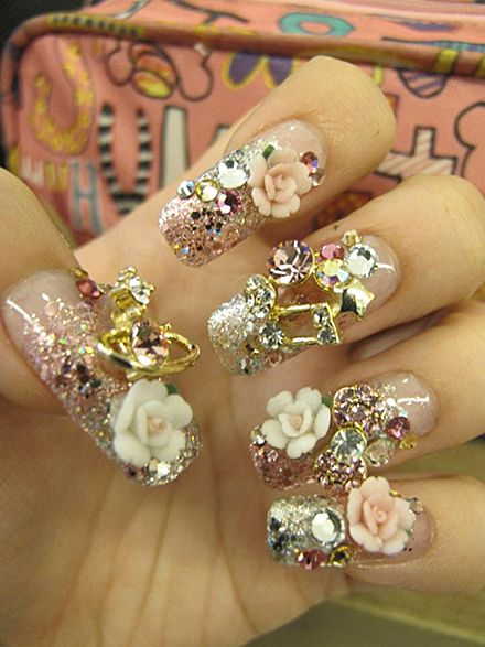 Too Long For Me...But Still Beautiful!  : )   Crazy decorative gyaru nails!
