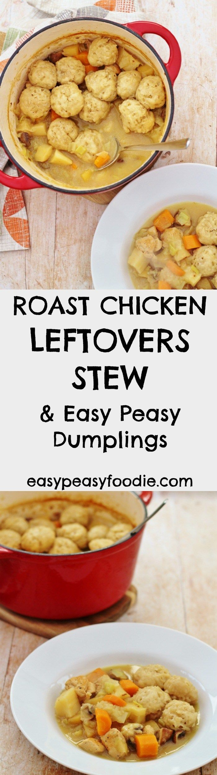 This Roast Chicken Leftovers Stew is serious comfort food and a great way to use leftover roast chicken. Alternatively it can be made with pork, lamb or beef leftovers. No leftovers? No problem! This stew can be made with fresh diced chicken too. #roastchicken #chicken #leftovers #leftover #stew #dumplings #easydinners #midweekmeals #easypeasyfoodie