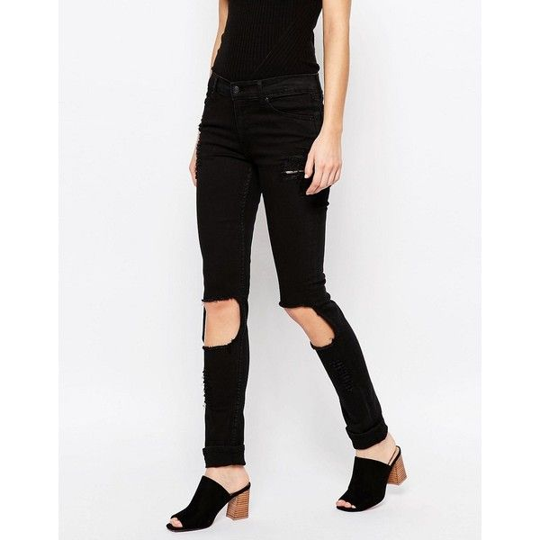 Cheap Monday Tight Skinny Jeans With Destroy Knees ($37) ❤ liked on Polyvore featuring jeans, black, skinny fit jeans, zipper jeans, skinny leg jeans, tall jeans and mid rise skinny jeans