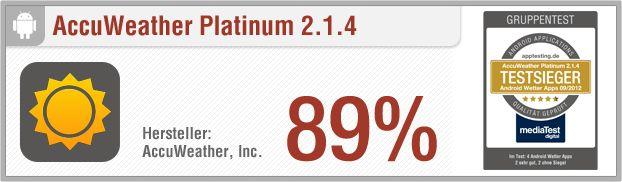 Vergleichstest Android Wetter-Apps: AccuWeather Platinum // Pro: 14-Tage-Vorhersage, stündliche Prognose, viele Informationen und Werte, Videos, mehrere Städte wählbar, komfortables Einstellungsmenü, benuterzfreundlich, übersichtlich // http://www.apptesting.de/2012/09/vergleichstest-wetter-apps-android-accuweather-platinum/