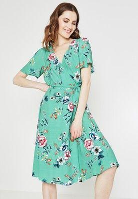 87ff6dc3682bd Robe cache-coeur Femme Imprimé vert émeraude