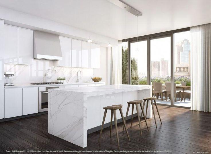 Modern White Marble Kitchen Dark Timber Kitchen Floors Carerra Marble White Splashback