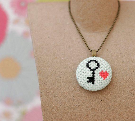 Heart and Key Cross Stitch Pendant Necklace by BobbySoxie on Etsy, $30.00
