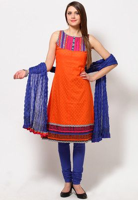 rinted and embroidered suit set for women by Global Desi. Crafted from cotton, this knee-length and sleeveless suit set features a round neck and regular fit. Brightly coloured, this orange suit set from Global Desi would lend you the trendiest look this season. The embroidery and sequins on the yoke showcase the exemplary craftsmanship while the printed patti on the yoke and hem lends this suit set a unique look. Crafted from pure cotton fabric.