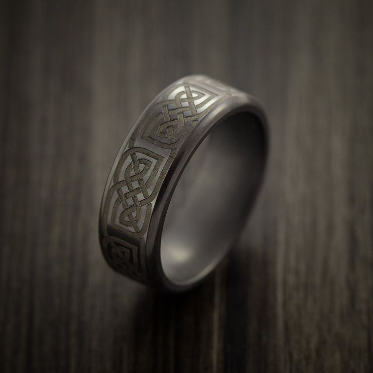 Elysium Black Diamond Wedding Band with Celtic Laser Engraving - Revolution Jewelry  - 4