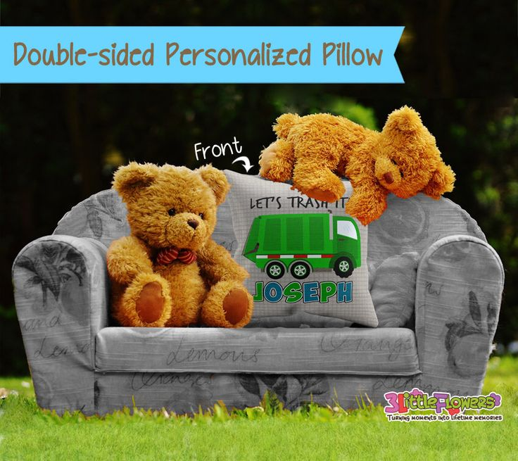 Personalized Garbage Truck Pillow - Personalized Throw Pillow - Personalized Nursery Pillow - Children Throw Pillow - Garbage Truck Bedroom by 3littleflowers on Etsy https://www.etsy.com/listing/475287074/personalized-garbage-truck-pillow