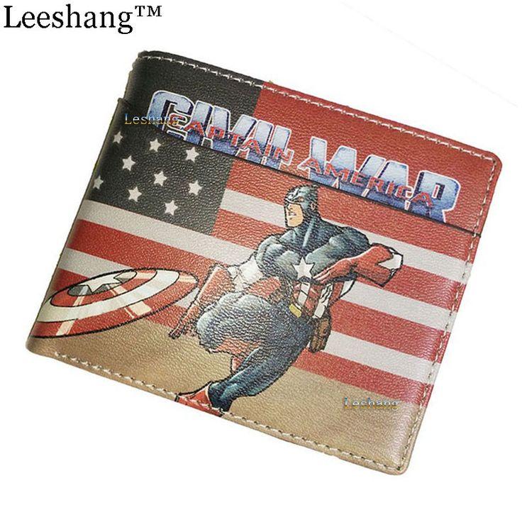 Leeshang marvel wallet with coin pocket small wallet for kids short Super Hero Lron Man American Captain Spiderman card wallets
