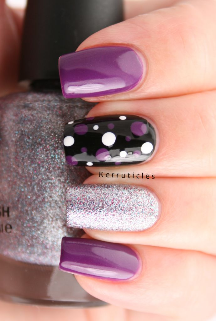 Rimmel Purple Reign. It's a lovely shade of purple that has an almost imperceptible gold shimmer to it.