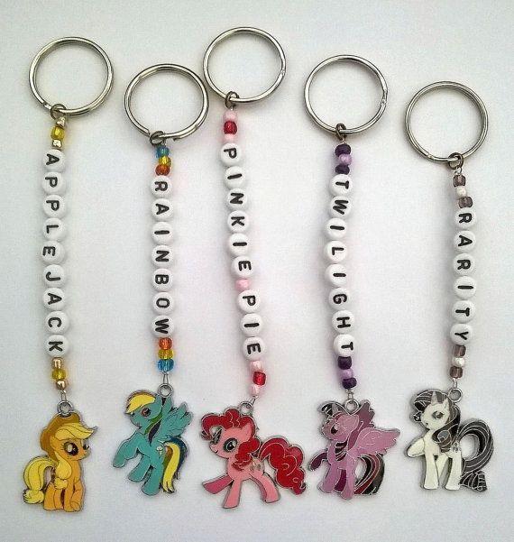 Handgemaakte My Little Pony gepersonaliseerde sleutelhangers/sleutelhangers. 5 pony