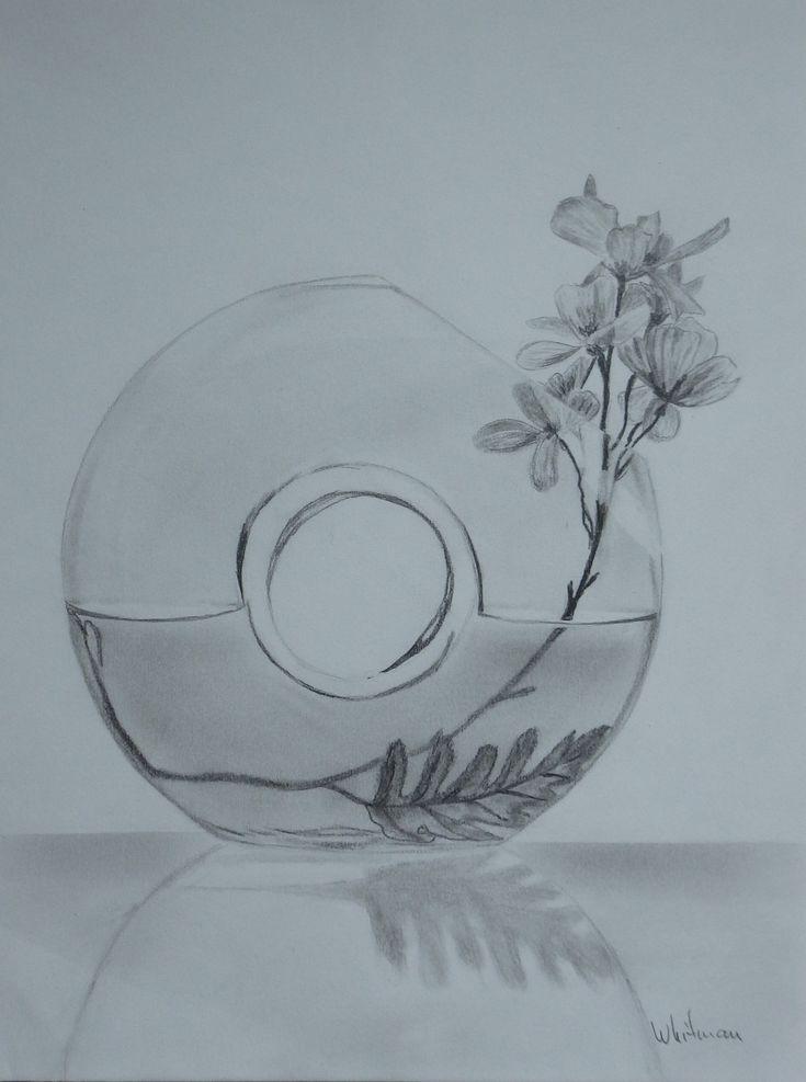 Glass Vase With Flowers Still Life Sketch Original Art