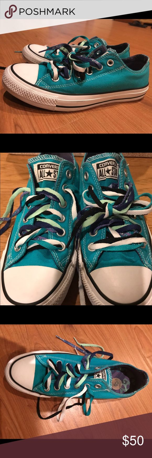 Turquoise Converse with multiple colorful laces ❤️❤️60% OFF❤️❤️A nice blue color with varying laces👟! foldable tongue. No scratches or marks. Perfect blend of Size and Comfort. Just in time for Back to School! 100% Authentic - feel free to ask questions! Converse Shoes Sneakers
