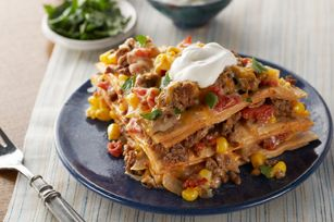 Easy Baked Taco Pie recipe  (for recipes calling for hamburger, I substitue Worthington VegeBurger to make a vegetarian version)