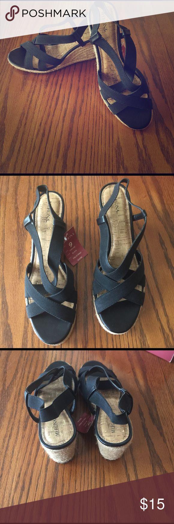 Ladies wedge sandal NWT 4 inch wedge sandal.  Rubber sole bottom. Merona Shoes Wedges