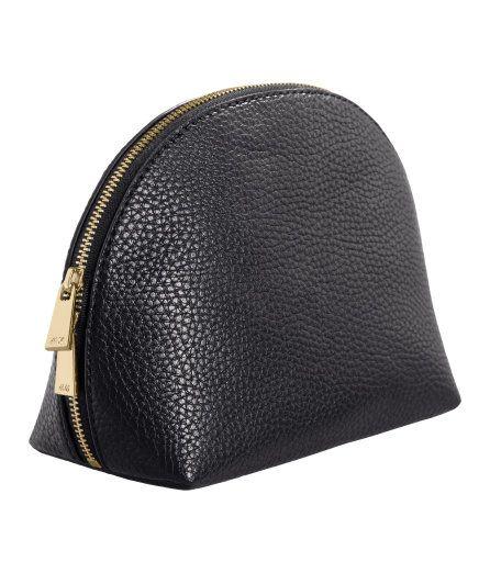 H&M Black Faux-Leather Makeup Bag