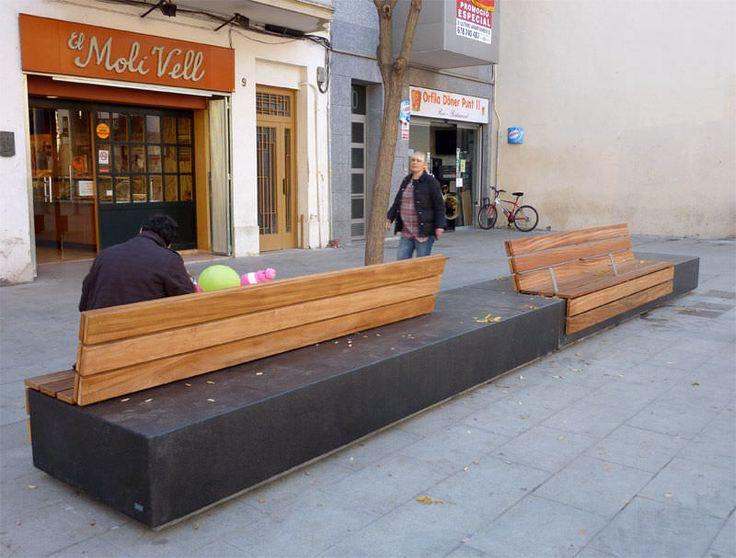 Public bench / contemporary / engineered stone / in wood LONGO by Manuel Ruisánchez Escofet