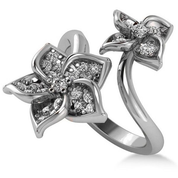 Allurez Diamond Double Flower Bypass Ladies Ring 14k White Gold... ($1,280) ❤ liked on Polyvore featuring jewelry, rings, flower ring, diamond jewelry, 14 karat white gold ring, engraved diamond rings and white gold diamond jewelry