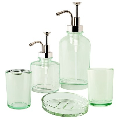 Green glass bathroom accessories for Blue crackle glass bathroom accessories